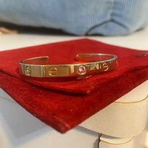 Cartier love cuff 17 rose gold & pink sapphire